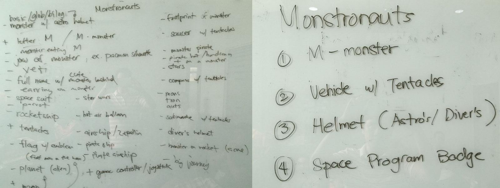 Idea Board For The Monstronauts Logo